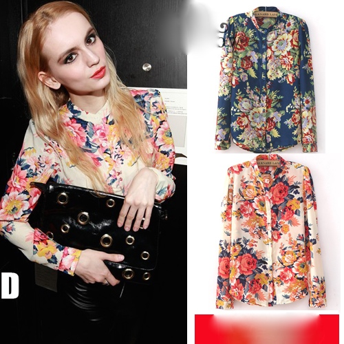 4xl 5xl plus size clothing new fashion 2015 spring european vintage floral print long sleeve shirt 1