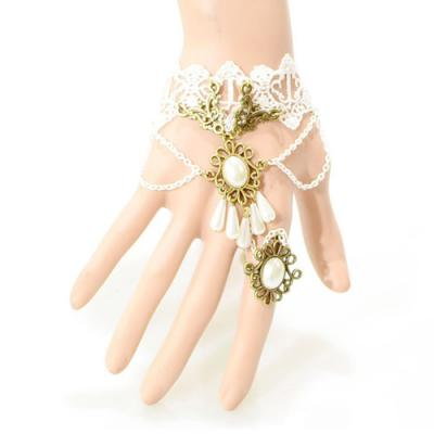 Bracelet bague dentelle blanc boho boheme chic bangle0066