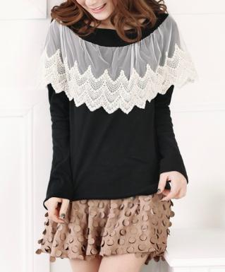 Top noir dentelle beige boho boheme chic TOP0063