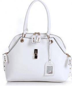 SAC A MAIN CUIR VERITABLE BLANC CELEBRITES BOHEME C0097