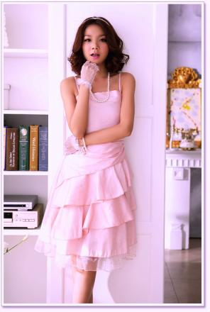 Robe rose satin organza boho boheme chic dress0415