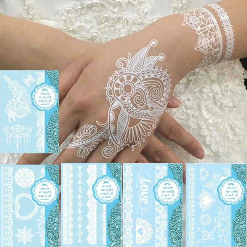 5pcs white tattoo lace flower waterproof temporary tattoos fake tattoo flash tattoos henna tatu paste tatouage