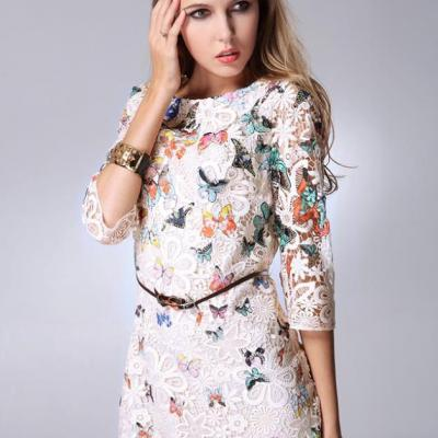 Robe courte dentelle papillons boho boheme chic dress0695