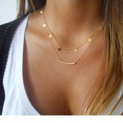 Collier chaines pampilles double rang boho boheme chic NECK0769
