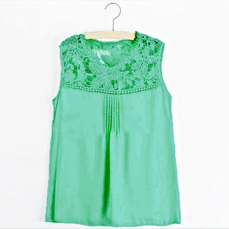 8 colors summer 2015 women casual apparent blouses sexy sleevelees hollow lace patchwork chiffon blouse shirts