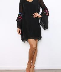ROBE SOIE MANCHES EVASEES BRODEES BOHEME BOHO CHIC D1254
