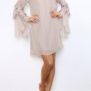 ROBE SOIE MANCHES EVASEES BRODEES BOHEME BOHO CHIC D1255