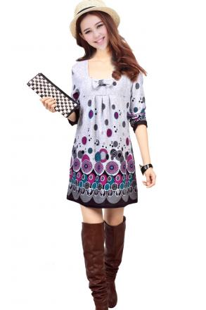 Robe tunique  imprimé ethnique boho boheme chic dress0610