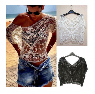 Top court crochet boho boheme chic top0539