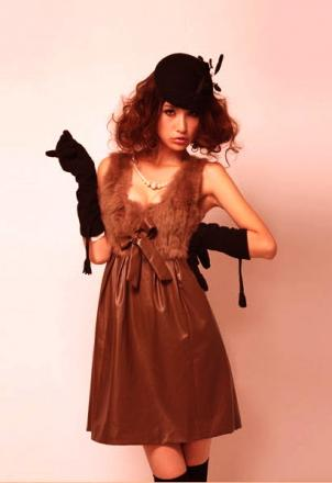 Robe bustier faux cuir fourrure boho boheme chic dress0270