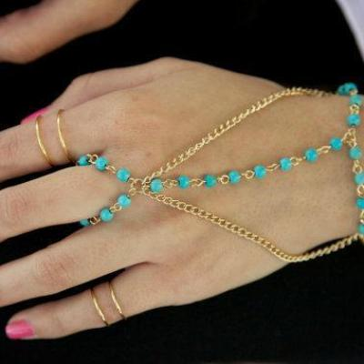 Bracelet bijou main turquoise boho boheme chic bangle0730