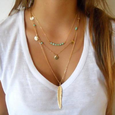 Collier chaines plume turquoises boho boheme chic NECKLACE0579