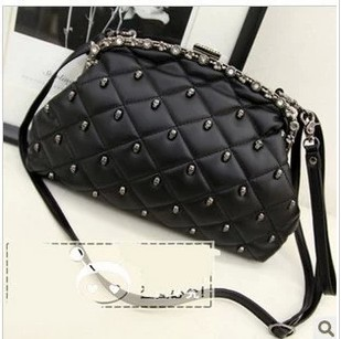 Bags 2014 women s plaid bag skull rivet day clutch shoulder bag women s bag 1