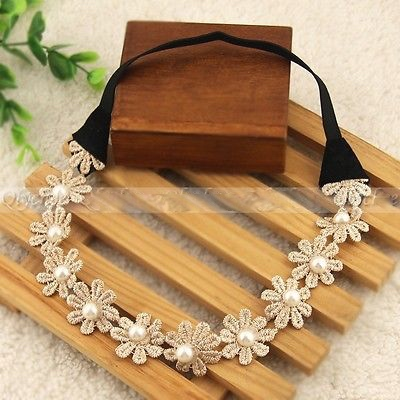 Boho style daisy beige lace floral crown chain garland girls hairband headband