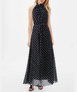 ROBE MI LONGUE AMPLE NOIRE POIS MOUSSELINE BOHO BOHEME CHIC DRESS1387