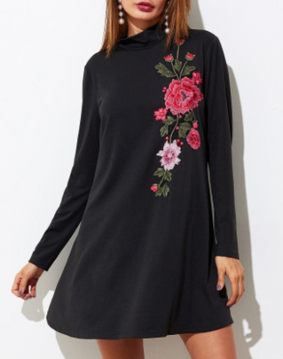 Robe évasée tee shirt brodée boho boheme chic DRESS1306