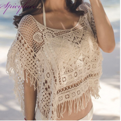 Top crochet beige franges boho boheme chic TOP0511