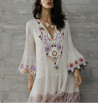 Robe franges brodée boho boheme chic DRESS1719