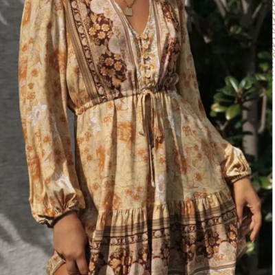 Robe fleurs hippie gypsy boho boheme chic DRESS1807