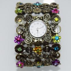 MONTRE METAL STRASS FLOWERS BOHO BOHEME CHIC N0388