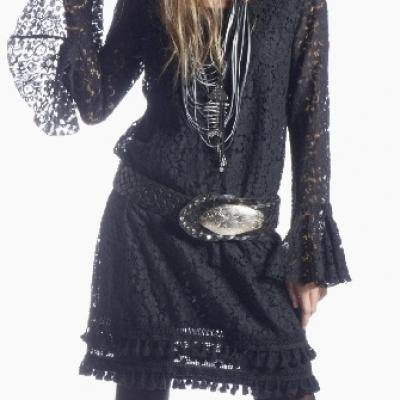 Robe dentelle pompons 100 % boho boheme chic  DRESS1283