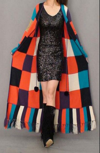 Fashion unique paragraph british style floor length sweater outerwear tassel one piece dress patchwork lacing long 1
