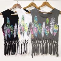Feathers printed crop top 2016 sexy summer women tassels sleeveless tank casual loose black white gray