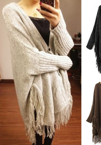 Free shipping 2013 spring autumn new fashion asymmetric tassels loose bat sleeve sweater cardigan blouse jacket