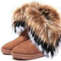 Free shipping 2015 autumn and winter snow boot feathers artificial fox fur flat bottomed short cotton