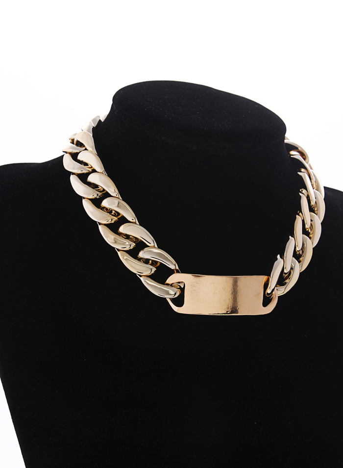 Free shipping gold plated ccp plastic wide chain ladies necklace jewelry made of plastic not metal