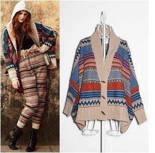 Free shipping stylish bohemian style striped knitted cardigan v neck loose bat wing sleeves cape sweater