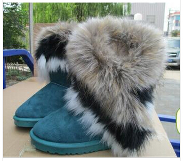 Free shipping warm winter boots tall artificial snow fox connie tassel shoes