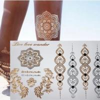 Free shopping new fashion flower body and i temporary henna tattoos metallic gold and silver bracelet 1