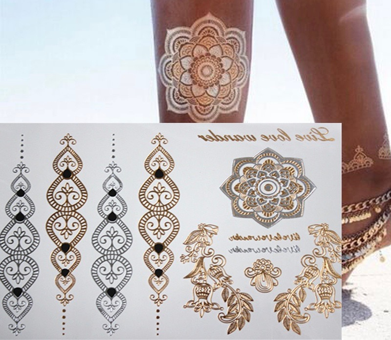 Free shopping new fashion flower body and i temporary henna tattoos metallic gold and silver bracelet 2