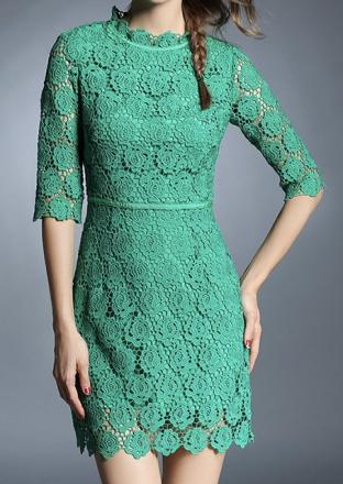 Robe dentelle verte boho boheme chic dress1159