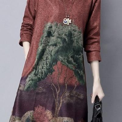 Robe imprimé arbre boho boheme chic dress1160