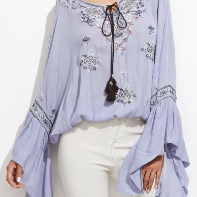 TOP BLOUSE BRODE AMPLE MANCHES AMPLES BLEU PALE BOHO BOHEME CHIC E0168