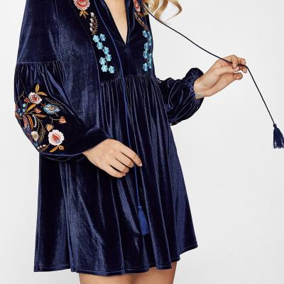Robe velours brodée boho boheme chic DRESS1299