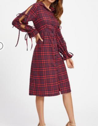 Robe longue plaid boutonnage boho boheme chic dress1304