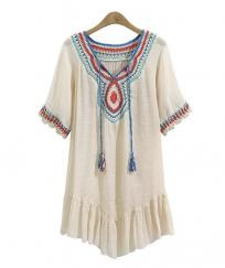ROBE TUNIQUE CROCHET MULTICOULEURS BOHO BOHEME CHIC D1360