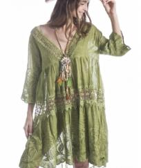 ROBE COL BAS MACRAME OR LOLA 100 % BOHO BOHEME CHIC DRESS1402