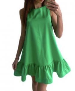 ROBE EVASEE ZIP DOS VERTE BOHEME BOHO CHIC DRESS1421