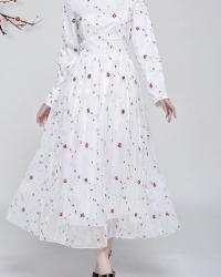 ROBE LONGUE BOHEME BRODEE LACAGE TAILLE BOHO CHIC D0706