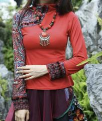 TOP ROUGE BRODE POMPONS COL MONTANT BOHO BOHEME CHIC TOP0437