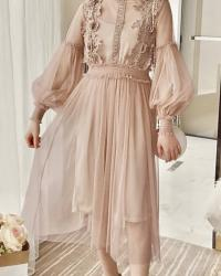 ROBE 2 PIECES TULLE BRODE BOHO BOHEME CHIC DRESSL1433
