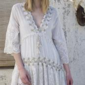 ROBE DENTELLE ET POMPONS 2 TONS ANGELICA 100 % BOHO BOHEME CHIC DRESS1403