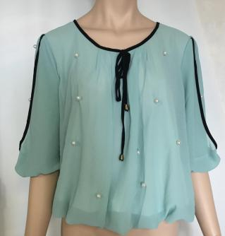 Blouse mousseline perles boho boheme chic top0452