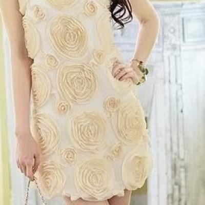 ROBE BEIGE TRES COURTE FLOWERS BOHO BOHEME CHIC DRESS01474