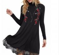 ROBE MI LONGUE BRODERIE DENTELLE BOHO BOHEME CHIC DRESS1480