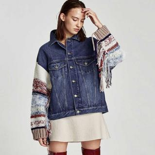 Veste jean manches lainage franges boho boheme chic JACKET0191